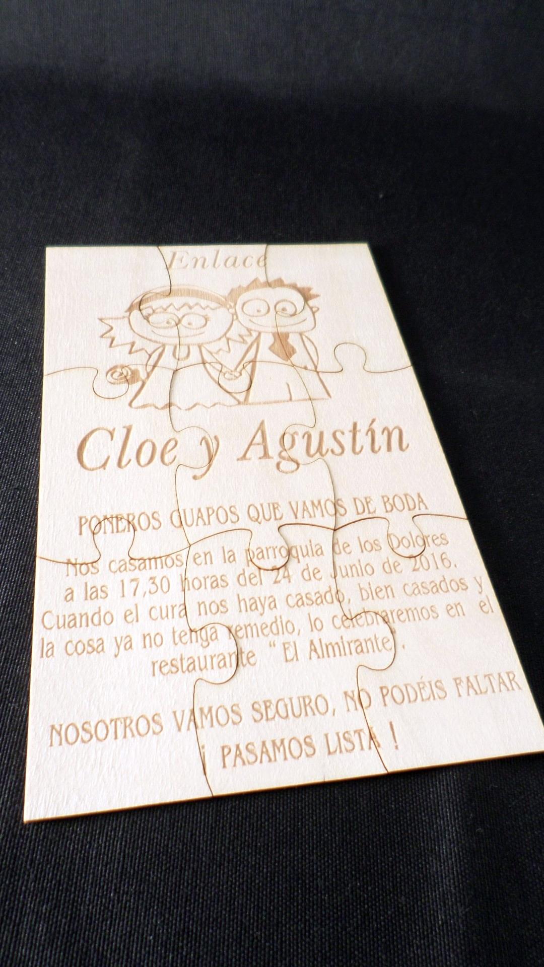 Invitación madera puzzle