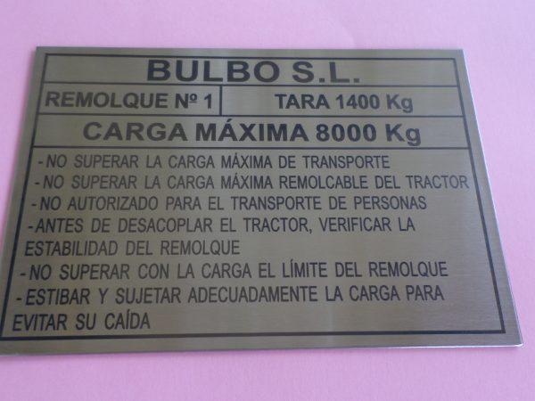 Placas Identificativas De Máquinas.