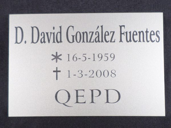 Placa Fúnebre Identificativa.